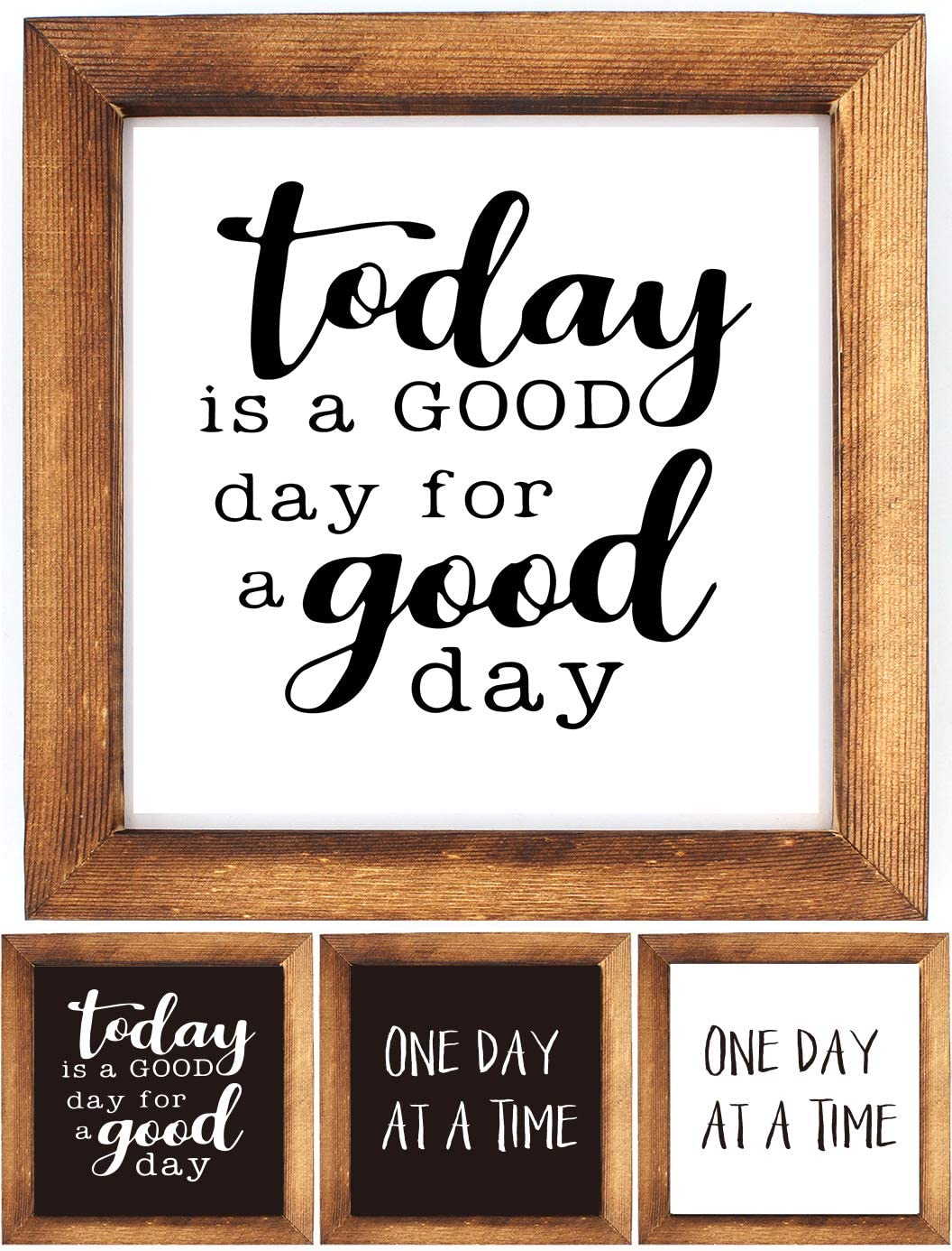 KU-DaYi Wood Framed Block Sign -Today is A Good Day for A Good Day, One Day at A Time, Funny Inspirational Rustic Farmhouse Wooden Wood Framed Wall Hanging Sign Art Decor