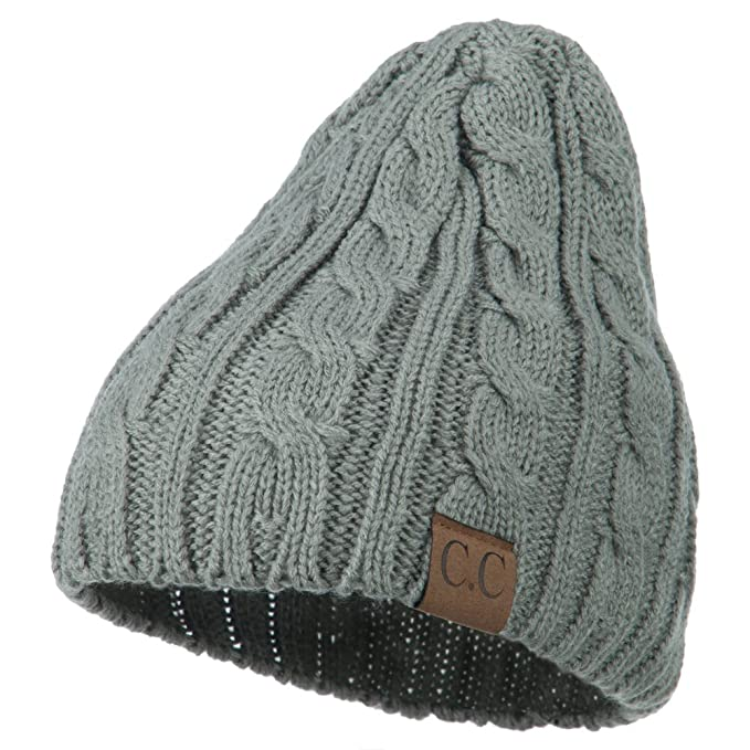 Amazon.com  Solid Cable Knit Beanie - Natural Grey OSFM  Clothing 14d7adedb36