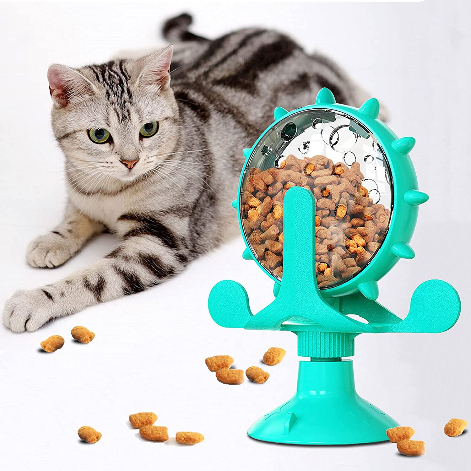 KAHEAUM Multiple Automatic Cat Treat Dispenser,Small Interactive Cat Toy Food Dispenser Cat Slow Feeder Insert Cat Toys Balls for Cats Kitty Puppy Chicken Kitten Toy Puzzle Treat Dispenser Pet Toy