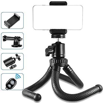 Phone Tripod, Flexible Cell Phone Tripod Stand Holder with Wireless Remote  Shutter & Universal Clip 360°Rotating Mini Tripod Stand for iPhone Xs Max,