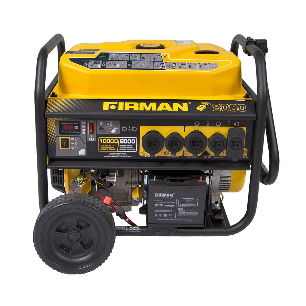 Firman P08003 10000 8000 Watt 120 240V 30 50A Remote Start Gas Portable Generator CARB Certified, Black