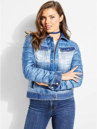 80f533c8c94 Guess Doudoune Femme W83l30 Eugenia Bleu Denim - Taille - XL  Amazon ...