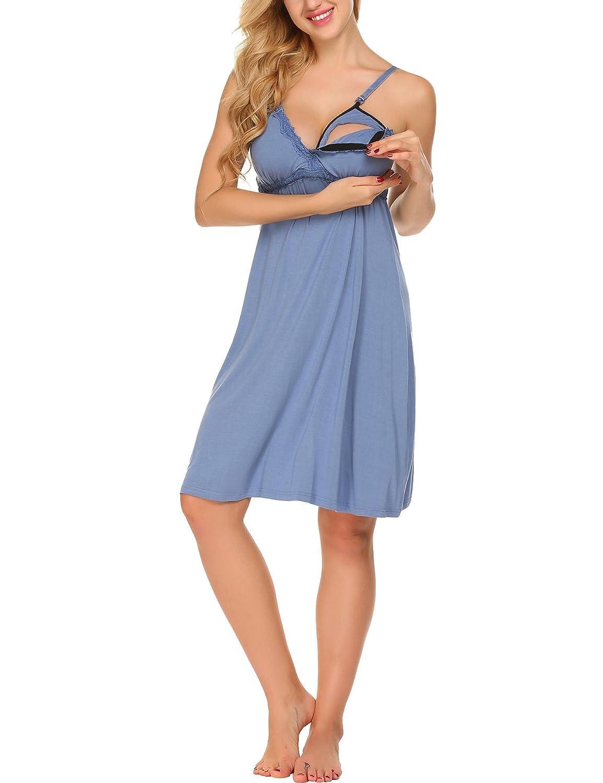 Goldenfox Women Lace-Trimmed Elastic Nursing Maternity Nightgown S-XXL GAMK006101_BL_XXL#