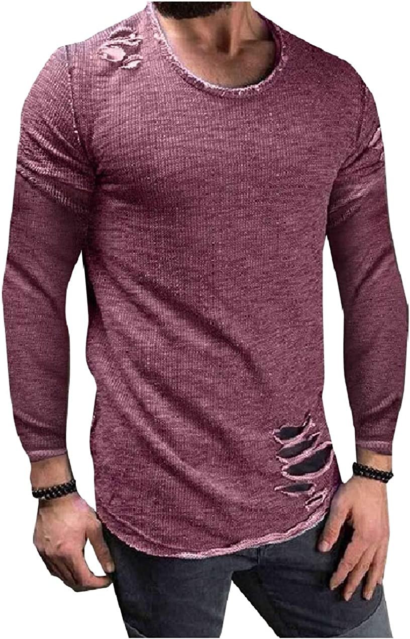 Fllay Mens Casual Tops Long Sleeve Round Neck Pullover Sports Solid Sweatshirt