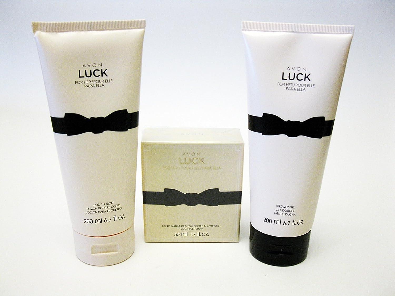 Avon LUCK for HER 3 piece st Eau de Parfum Spray, Body Lotion Shower Gel