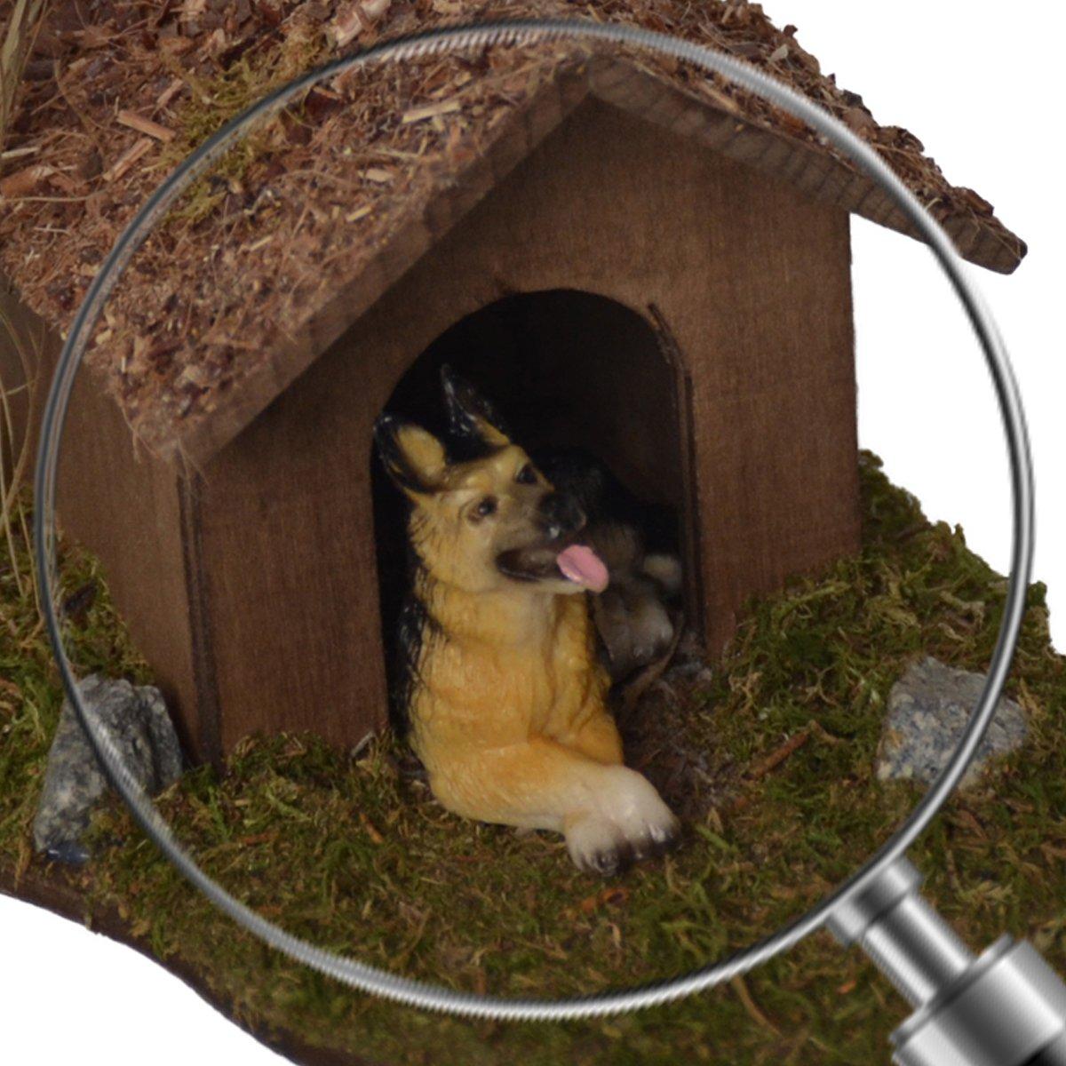 Alfred Kolbe Krippen AM 19 - Accesorios para belén (caseta de perro con arbusto y perro sentado, 13 x 15 x 9 cm, para figuras de 12-15 cm): Amazon.es: Hogar