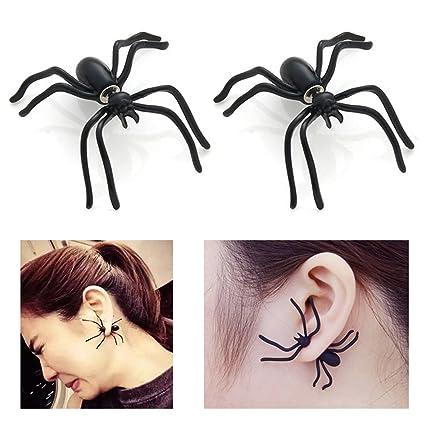 3bb3bd3814f8f Halloween Fashion 1 Pairs Spider Earrings (Black)