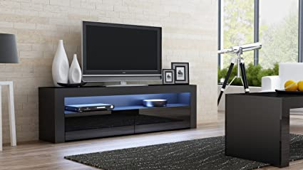 70 inch tv stand Amazon.com: TV Console MILANO Classic BLACK   TV stand up to 70  70 inch tv stand