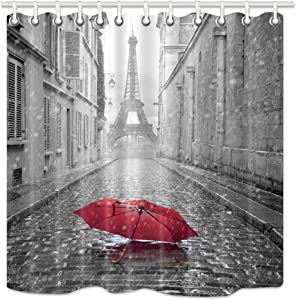 NYMB Paris Shower Curtain, Eiffel Tower Under Red Umbrella in France Street,Fabric Bathroom Decorations, Bath Curtains 12PCS Hooks Included, 69X70 Inches
