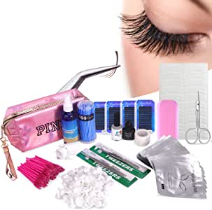 18 in 1 Eyelash Extension Kit, mcwdoit C Curl Eyelash False Lashes Strip Graft Glue Tweezers Kit Lint-free Eyelashes Under Patch Pad Eyelash Brush Cotton Swabs Cup Rings Bag Set
