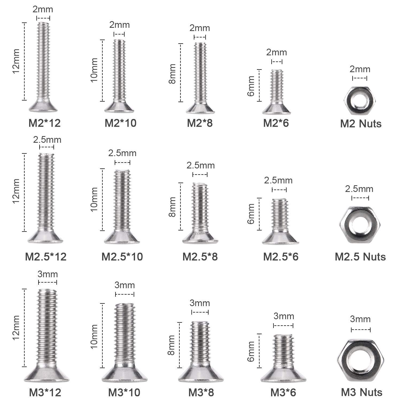 M2 M2.5 M3 Stainless Steel Hexgon Hex Socket Head Cap Metric Screws Allen Round Flat Head Bolts Nuts Assortment Kit Pack of 480
