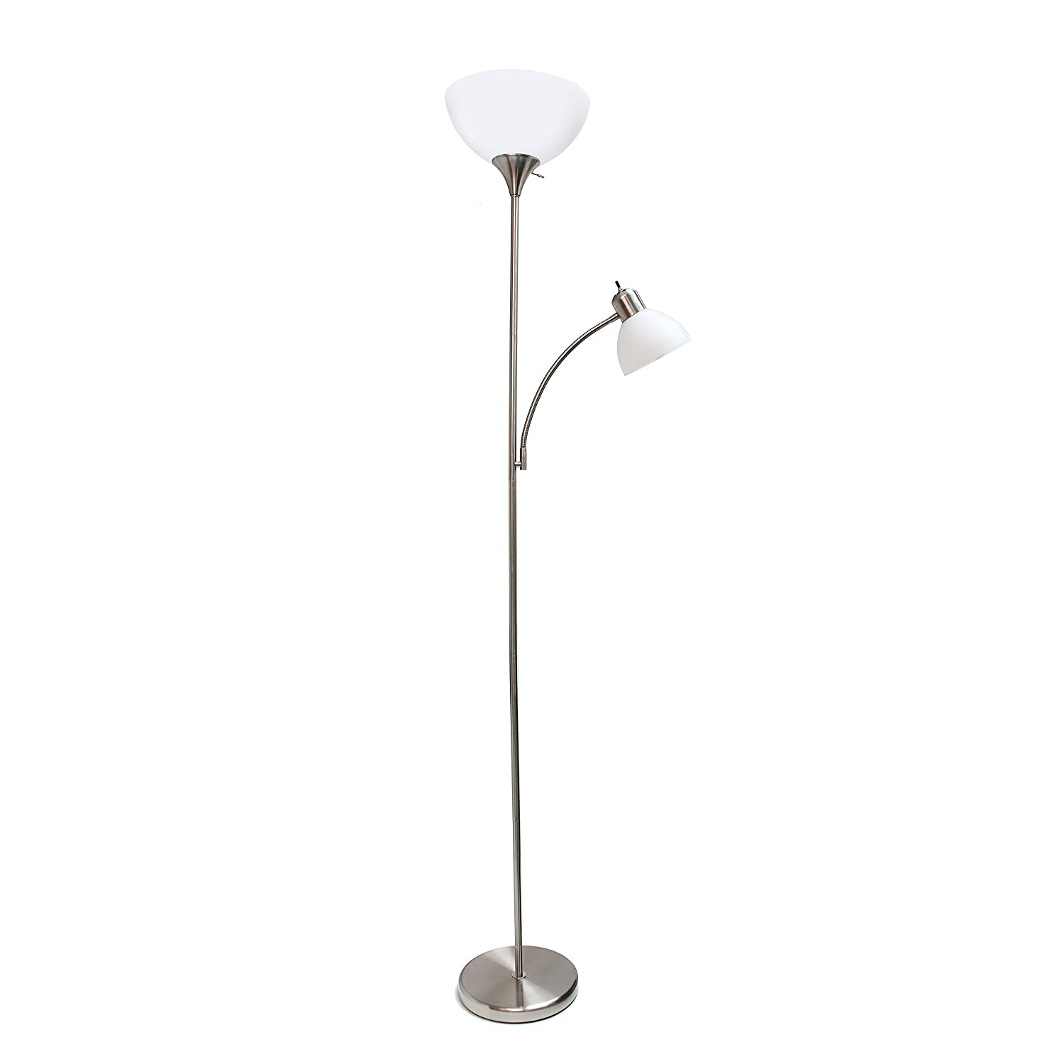 Simple Designs Home LF2000-BSN Simple Designs Brushed Nickel Floor Lamp with Reading Light
