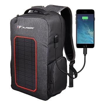 ALLPOWERS Cargador Solar de Mochila Bolsa con 7W Solar Portátil, 6000mAh Batería Cargador para iPhone, Samsung Galaxy, iPad Air/Mini, Cámara, ...