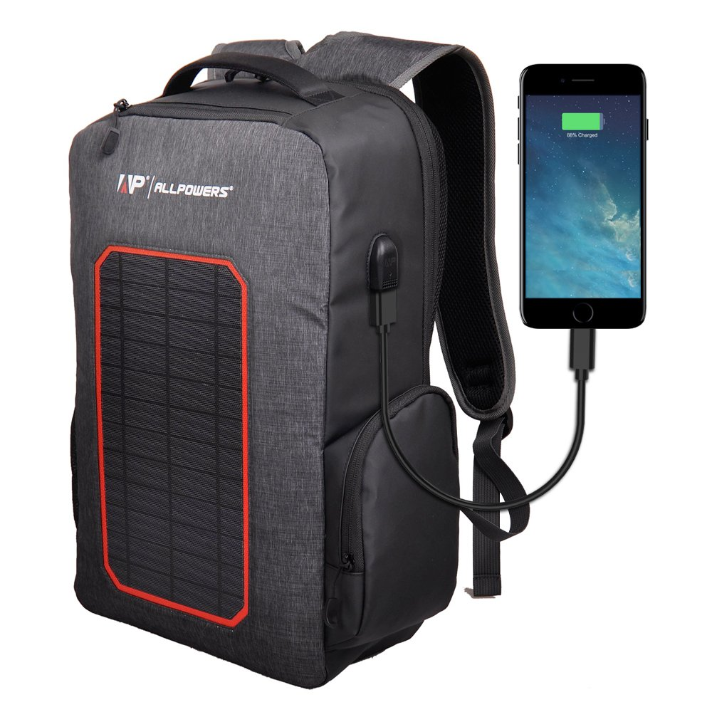 ALLPOWERS Solar Backpack Built-in 7W Solar Panel, 6000mAh Battery Powered Charger Backup Camping, Hiking, Backpacking, Outdoors, Emergency, Cell Phone, iPhone, ECT