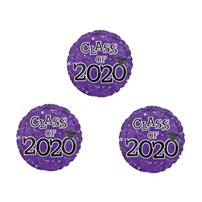 Graduation Class of 2020 set of 3 PURPLE Party Balloons Decoration Supplies: Everything Else