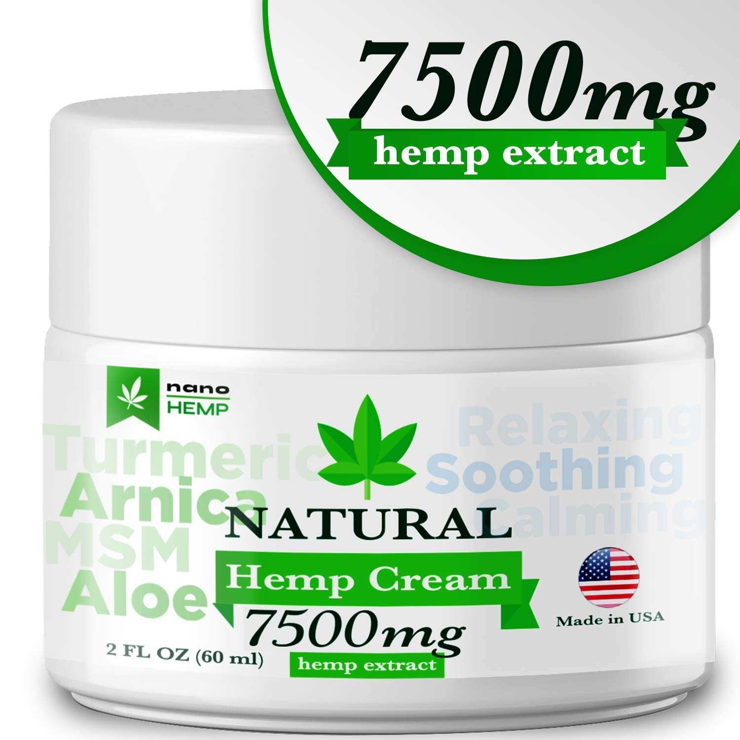 Organic Hemp Pain Relief Cream, 7500 Mg, Made in USA, Non-GMO, Natural Hemp Extract Cream for Joint, Muscle, Back, Neck, Knee Pain with Arnica, Aloe, MSM & EMU Oil