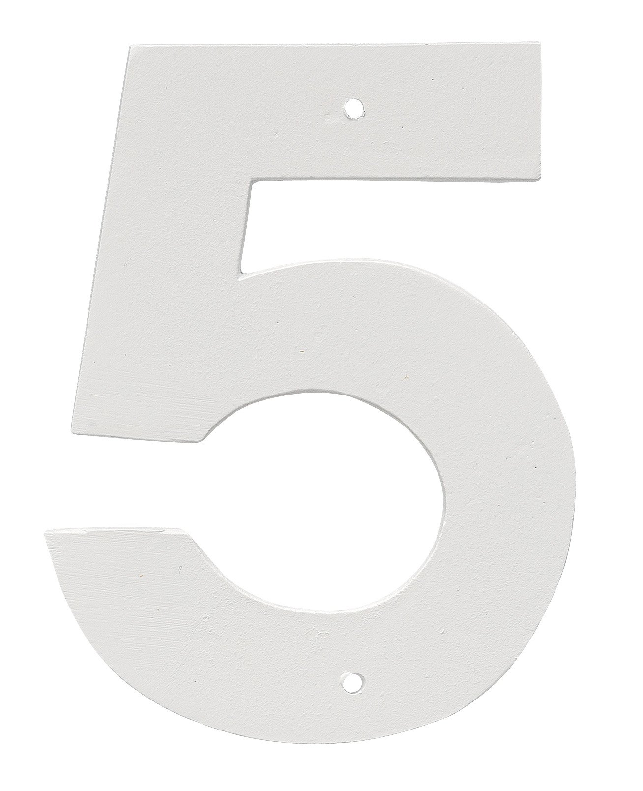 Montague Metal Products 8'' Aluminum House Number 5 Outdoor Plaque, Medium, White