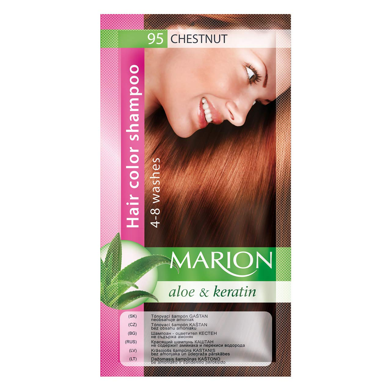 Marion Hair Color Shampoo in Sachet Lasting 4 to 8 Washes Aloe and Keratin - 95 Medium Chestnut