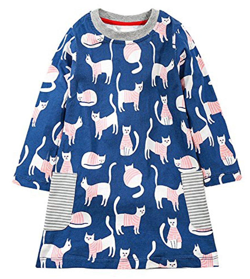 lymanchi Little Girl Long Sleeve Cute Cotton Animal Casual Striped T-Shirt Dress 909347 5