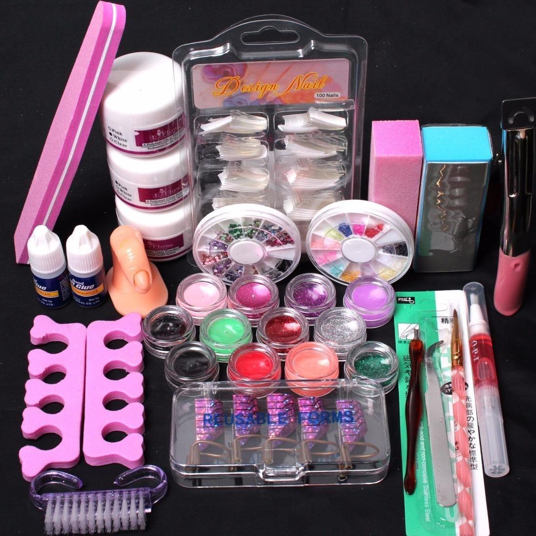 Kolylong® Pro Nail art tools 24 in 1 Acrylic Nail Art Tips Liquid Buffer Glitter Deco Tools Full Kit Set Kolylong-NN