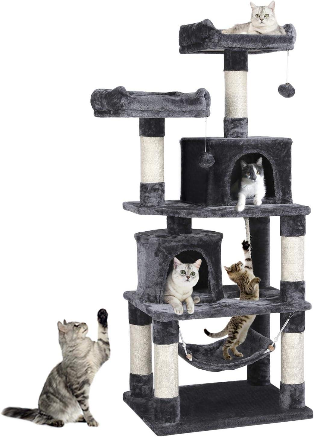 Yaheetech - Árbol rascador XXL para gatos con 2 casas para gatos, 2 plataformas, color gris oscuro: Amazon.es: Productos para mascotas