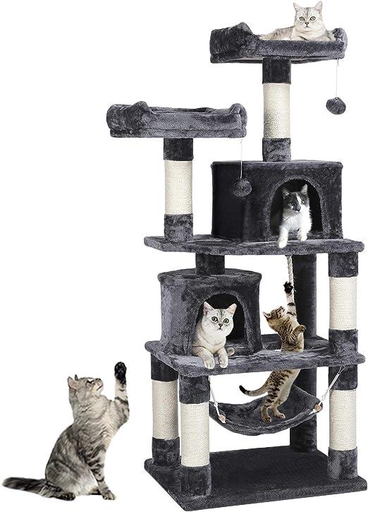 Yaheetech Árboles para Gatos Rascador Juego para Mascota Casa de Gatos Sisal Plataformas Altura 145 cm Gris Oscuro: Amazon.es: Productos para mascotas