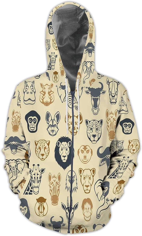 C COABALLA Roaring Lion Under Blue Sky,Mens Print 3D Fashion Hoodies Sweatshirts S