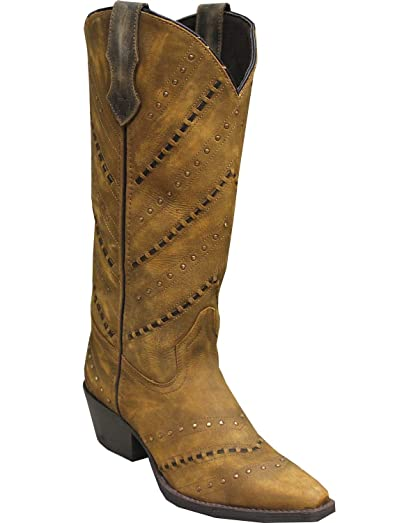 Women's Rawhide by Cutout and Nailheads Western Boot Snip Toe Tan 7.5 M