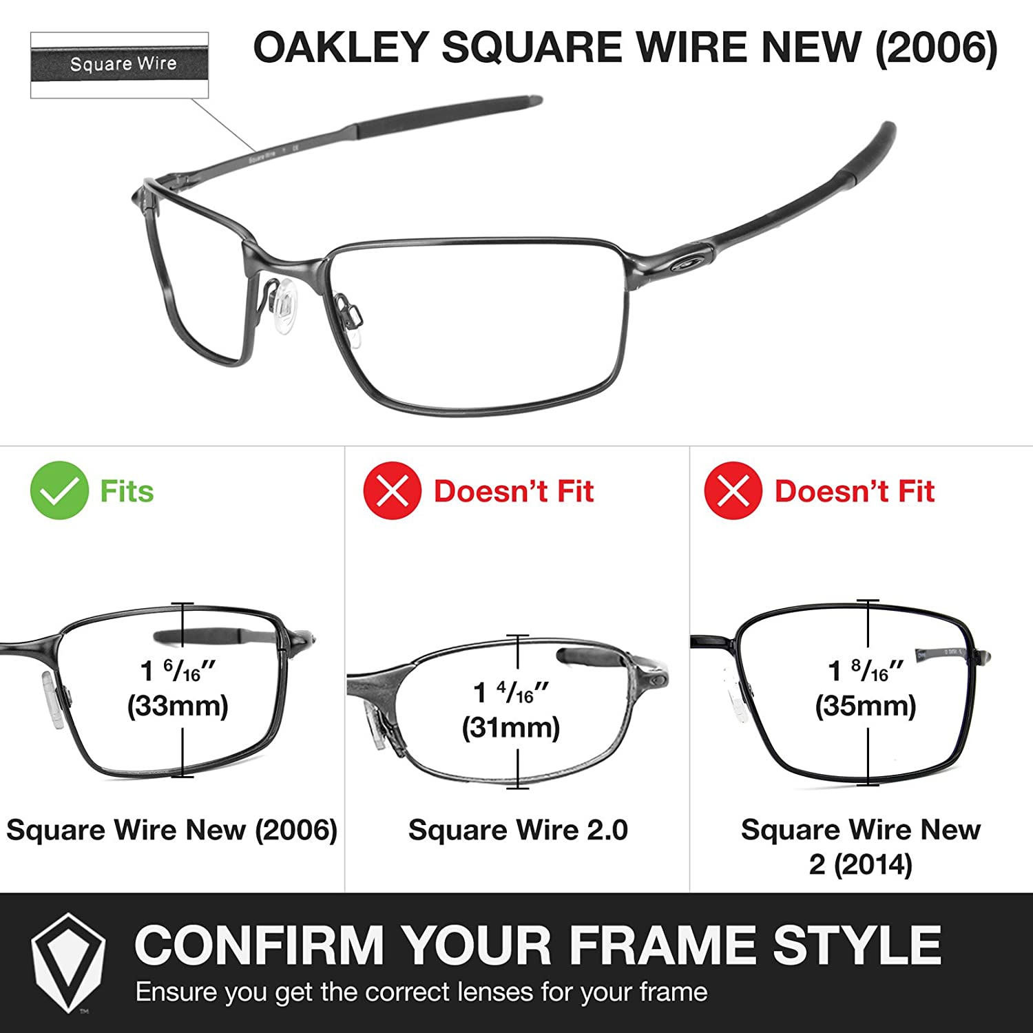 Revant Replacement Lenses for Oakley Square Wire New (2006) 2 Pair ...