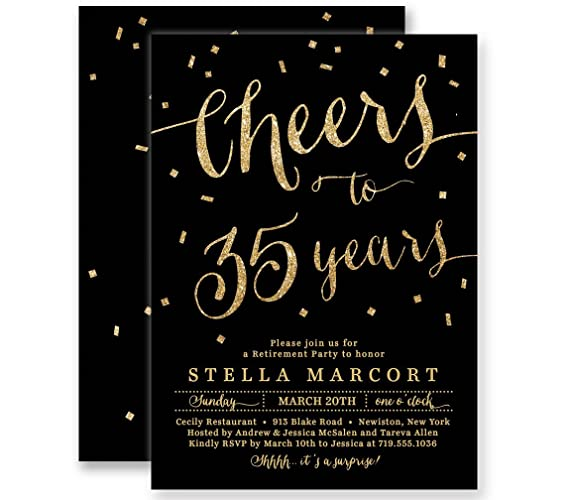 Amazon Com Retirement Party Invitations Cheers To Years Black