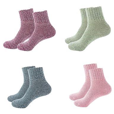 BESTOYARD Calcetines de invierno para mujer Calcetines de algodón térmicos Adulto de punto cálido grueso calcetines - 4 Pares: Amazon.es: Ropa y accesorios