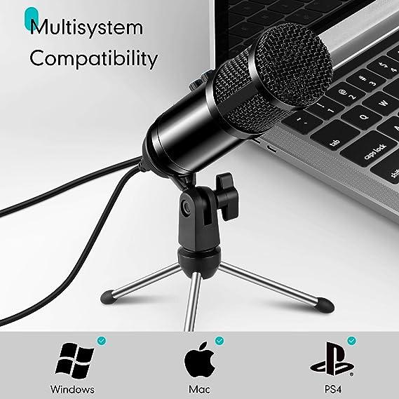Snowsound USB Mikrofon Aufnahme PC Mikrofon Professionelles Kondensator-Aufnahmemikrofon mit Plug /& Play-Unterst/ützung f/ür Windows Mac Desktop-Laptop Podcasting Gesang und Konferenz Spiel