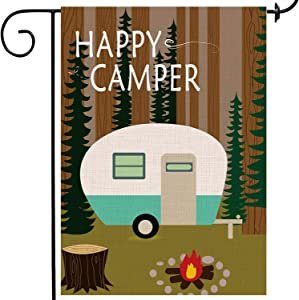 Simlayton Happy Camper Garden Flag Lovely Double Sided Burlap Decorative Yard Banner Holiday Flag for Outdoor Party Home Farmhouse Outdoor Decoration 12×18 Inch