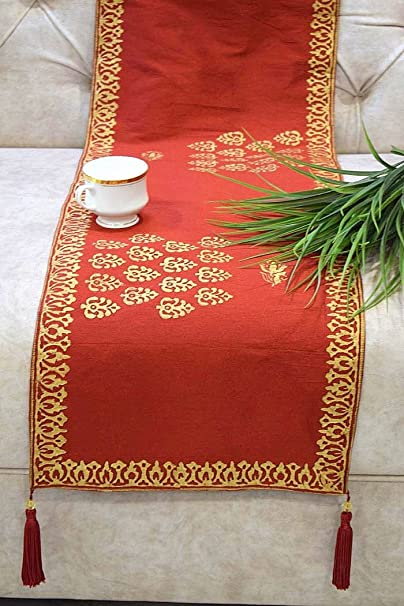 Royal DecoFurnishing Hand Block Printed Ethnic Silk Dining/Coffee/ Center Table Runner - 90x13Inches, Red