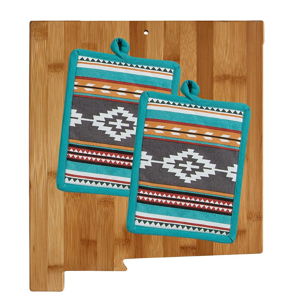 New Mexico Kitchen Decor Cutting Board with Southwest Print Potholders (3 Item Bundle) by Totally Bamboo