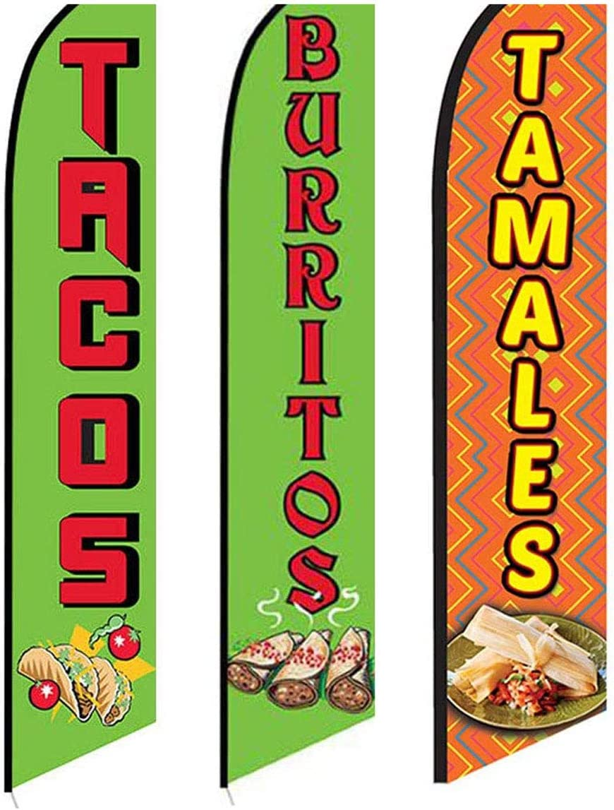 3 Swooper Flags Tacos Burritos & Tamales Food Special Open Sale