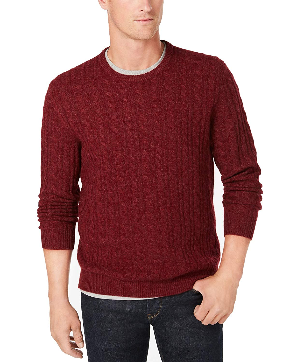 Club Room Mens Cable-Knit 100/% Cashmere Crewneck Sweater