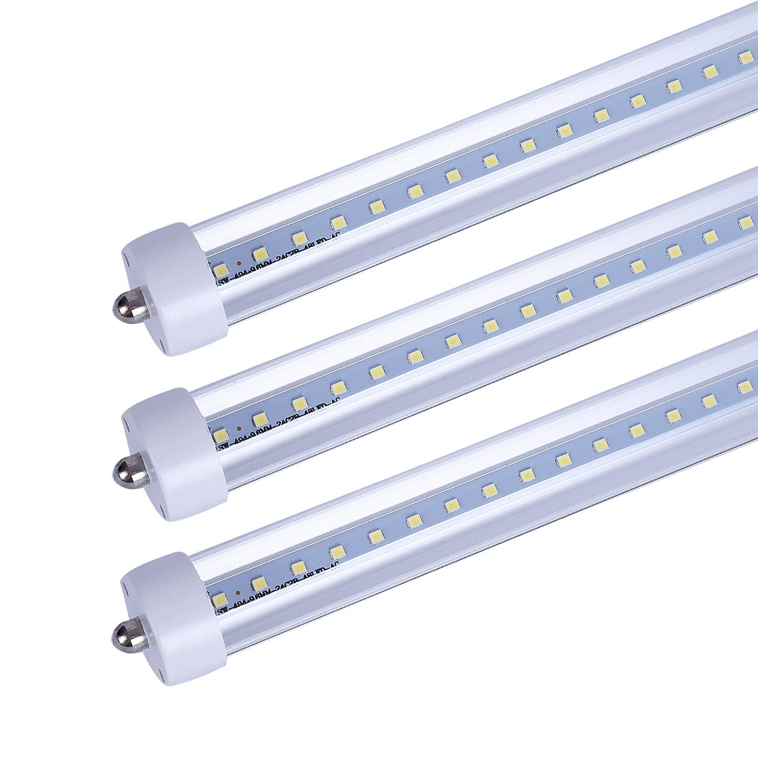 (US Stock) CNSUNWAY LIGHTING 8FT LED Tube Lights, 96'' Single Pin T8 LED Bulbs,45 Watts,4800Lumens,Clean Cover, 6000K Cool White,Replace Fluorescent Bulb(25 Pieces)