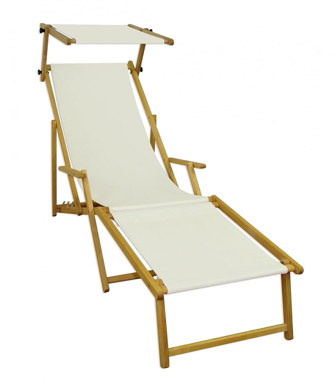 Lungo sdraio Bianco Ecrù in Faggio chiaro con braccioli poggiapiedi parasole 10-303 N F S Erst-Holz®