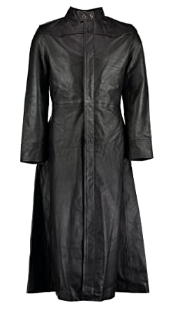 Abrigo De Piel largo negro, estilo gótico de Neo de Matrix, para Hombres: Amazon.es: Ropa y accesorios
