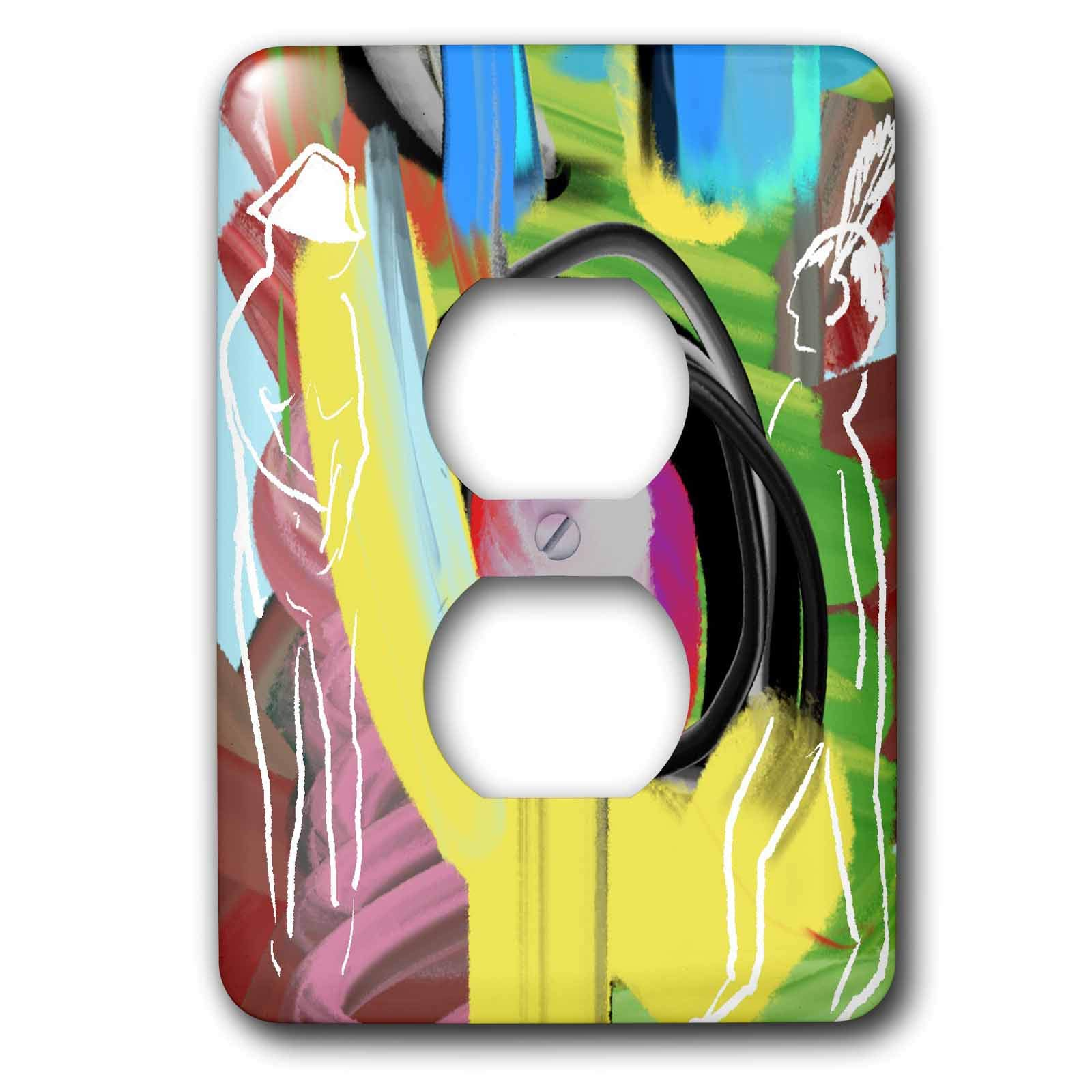 3dRose Lasha Beraia - Minimalist - Figures of Women and Man - minimalist drawing on abstract background - Light Switch Covers - 2 plug outlet cover (lsp_288678_6)