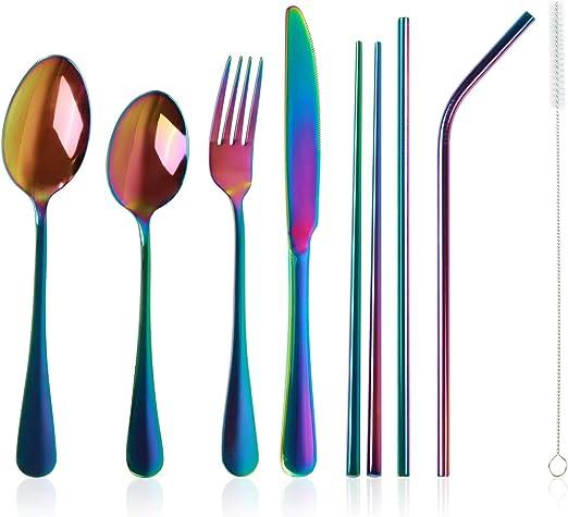 Case 8 pcs Stainless Steel Camping Flatware Set Travel Utensils Rainbow Cutlery