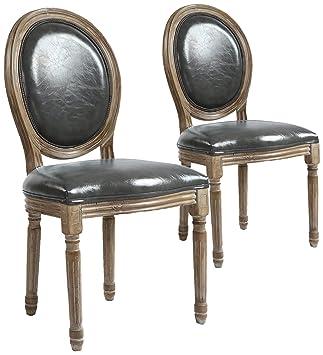 Menzzo Lot de 2 Chaises Médaillon Louis XVI Simili P U Gris Bois