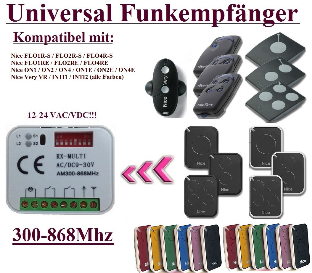 Universal Funkempfänger kompatibel mit Nice 433,92Mhz FLOR-S, FLORE, ON, ONE, INTI, VR handsender. 2-befehl Rolling Fixed code 300Mhz-868Mhz 12 - 24 VAC/DC Funkempfänger.