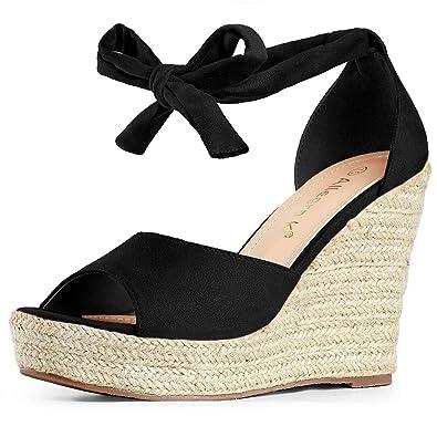Women Allegra K Womens Open Toe Espadrille Wedge Sandal Shoes & Handbags