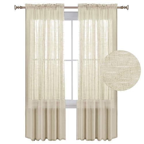 Semi Sheer Curtains For Kitchen Curtain Linen Textured: Linen Curtains: Amazon.com