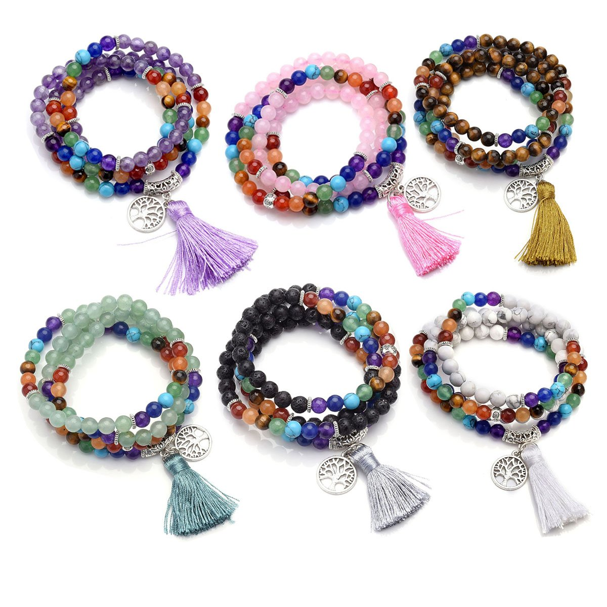 Top Plaza 7 Chakra Buddhist Mala Prayer Beads 108 Meditation Healing Multilayer Bracelet/Necklace W/Tree of Life Tassel Charm (6 Pack)