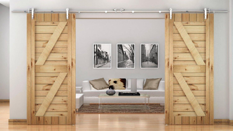 XBD-FSS # Acero inoxidable cepillado níquel satinado Sus304 Hardware puerta corredera madera del granero MiniSun pista para trastero, lavandería, baño principal, paseo en armario, la oficina, persianas, alta movilidad áreas: Amazon.es: Bricolaje
