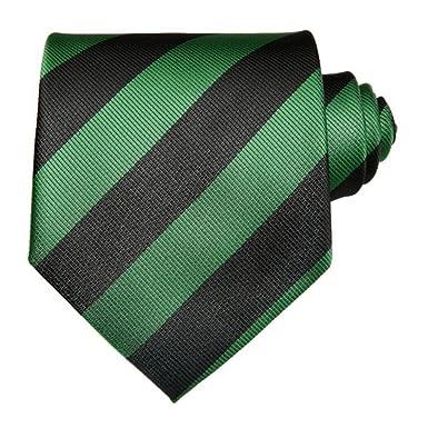 Corbata TNS, clásica a rayas, con gemelos y pañuelo Negro Black ...