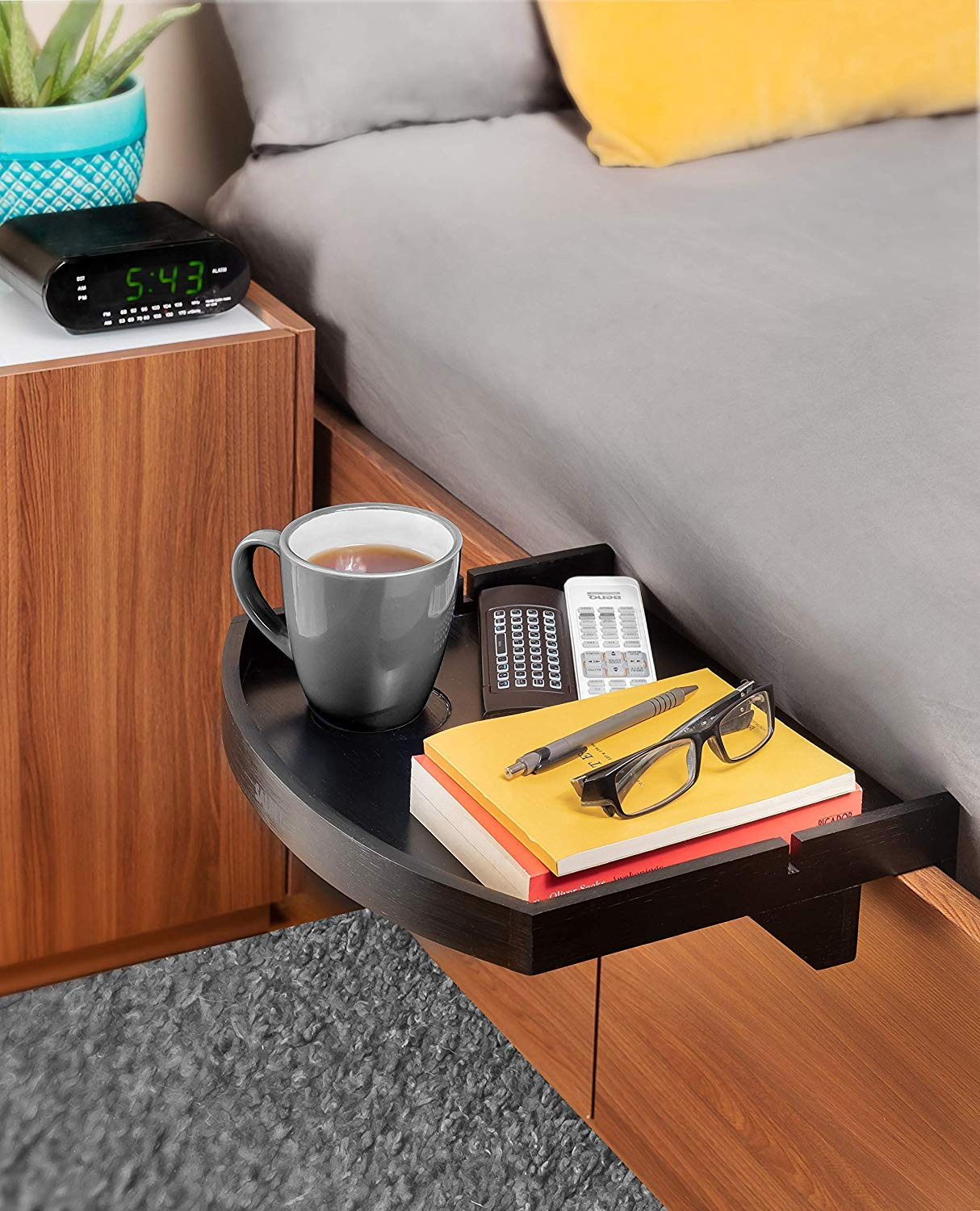 Bedside Shelf Nightstand Organizer Caddy by SALBEE A Unique Design with Soft Curved Edges Floating Bamboo Table Tray with in-Built Cup Holder Easy to Attach to Bed Frames Black Color